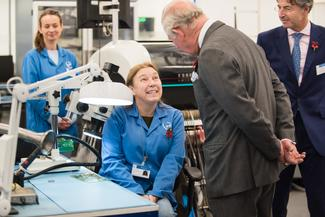 HRH Prince Charles meets with production and engineering staff at ETL Systems LTD Hereford