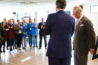 HRH Prince Charles addresses the staff at ETL Systems LTD about engineering and the future